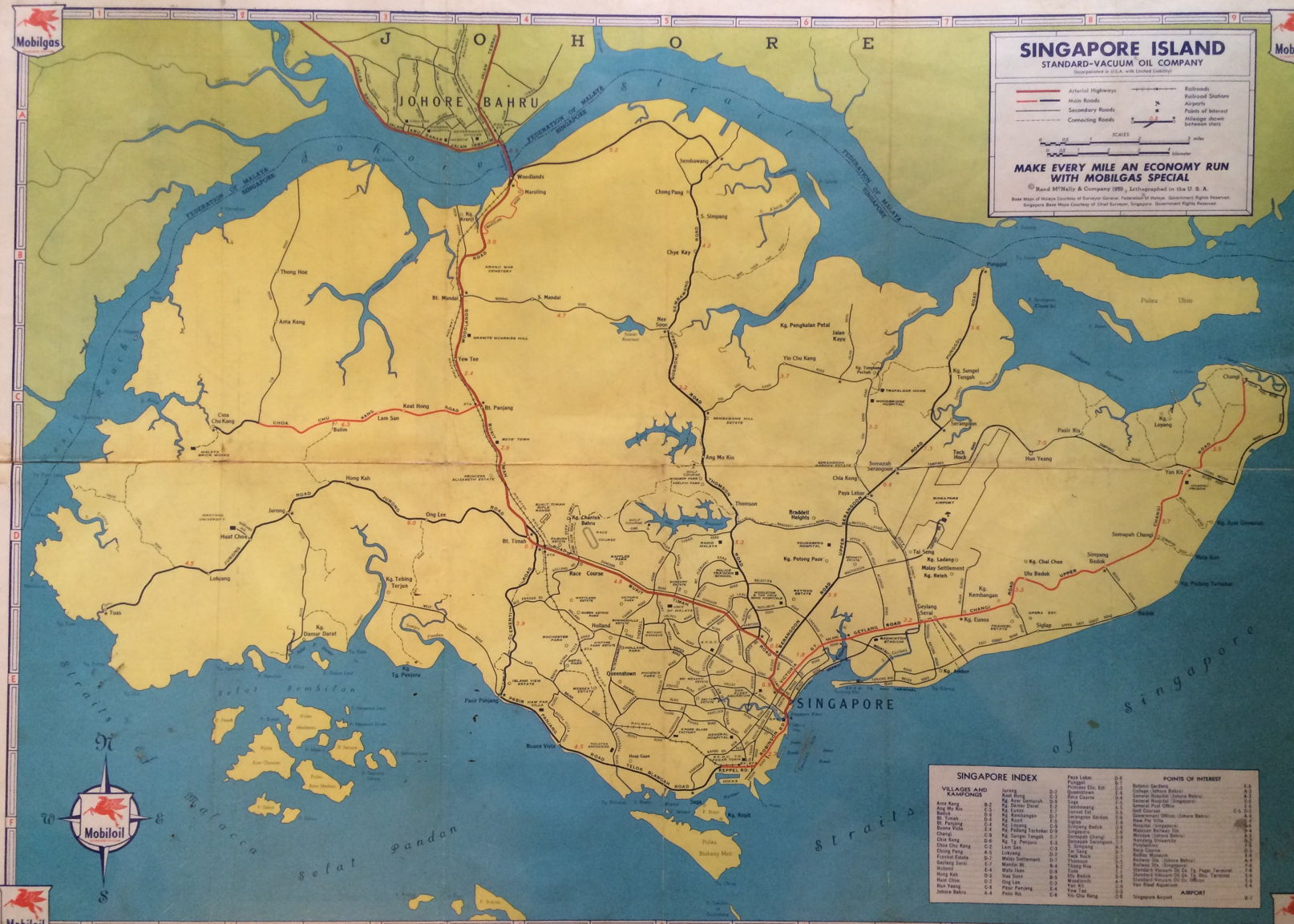 Singapore Road Map 1959 Mobil Oil